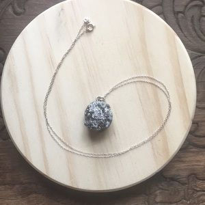 Jewelry - Natural Stone Druzy and sterling pendant